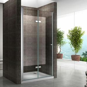 Einzelfalttür Falttür Duschtür Duschabtrennung Klarglas 6mm ESG Sicherheitsglas - alle Größen 88-92cm - I-FLAIR