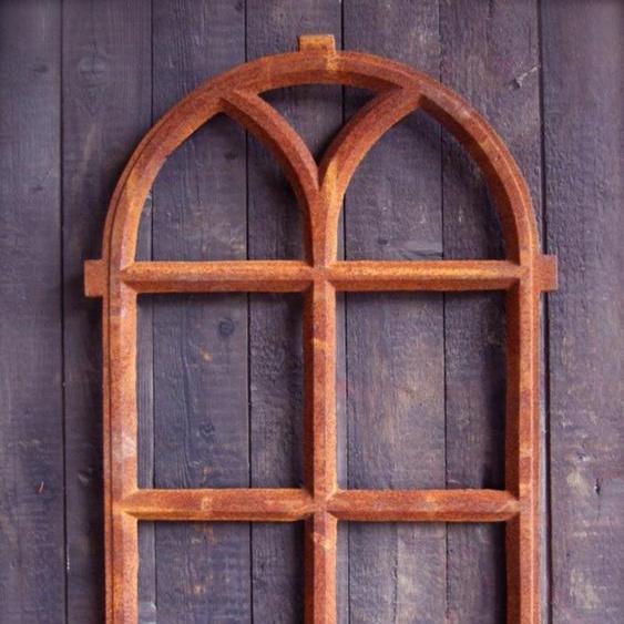 Eisenfenster Stallfenster mit Rundbogen, Fenster für eine Gartenmauer V 98 x 54