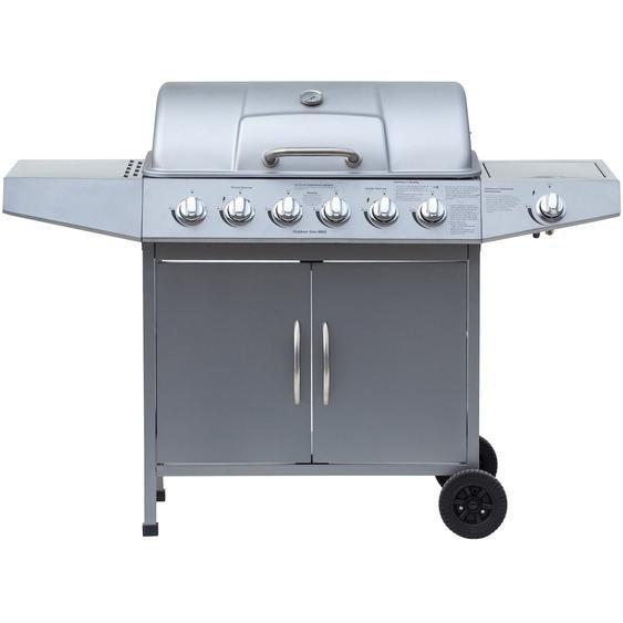 El Fuego Gasgrill Dayton 6-Brenner + Seitenbrenner Silber ca. 133 x 95 x 54 cm
