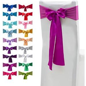 Elastische Stuhlhussen aus Elasthan, Schleifen mit Satinschleifen, für Hochzeiten, Partys, Dekorationen, 10 Stück 10 Stück violett, rot