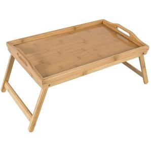 elbmöbel Tabletttisch »Tablett Bett Bambus braun«, Betttablett Bambus Betttisch klappbaren Beinen Serviertablett Frühstück Tablett B50xT30xH26
