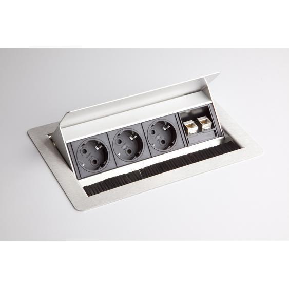 ELDATA 1 | Steckdosenleiste (mit Einbau) | 3 x Steckdose | 2 x RJ45 - Silber