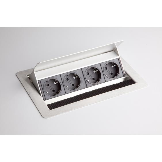 ELDOSE 1 | Steckdosenleiste (mit Einbau) | 4 x Steckdose - Silber