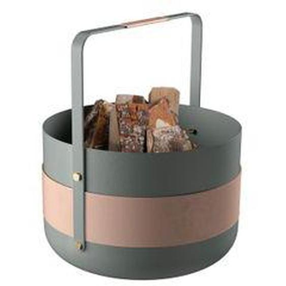 Eldvarm - Holzkorb Emma, Lichen, grün / rosa
