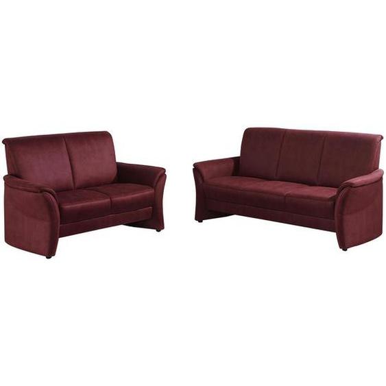 Elegando Sitzgarnitur Mikrofaser Rot , Textil , Uni , 188x138x96 cm
