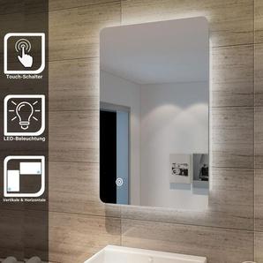 Elegant Badspiegel mit Beleuchtung Lichtspiegel LED Spiegel 80 x 50 cm kaltweià IP44 Badezimmer Wandspiegel mit Touch-Schalter Beschlagfrei Badezimmerspiegel - SONNI