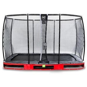 EXIT Elegant Premium Inground-Trampolin 244x427cm mit Deluxe Sicherheitsnetz - rot