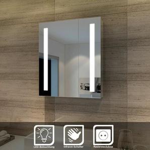 Elegant Spiegelschrank LED 2-türig Badezimmerspiegel mit Beleuchtung 60 x 70 cm Kaltweià Infrarot Sensorschalter Badschrank mit Rasierersteckdose - SONNI
