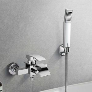 Elegant Zeitgenössische Chrom Armatur Wasserfall Badewanne Wasserhahn inkl. Wandhalterung mit Handbrause für Bad Badezimmer Duschset Regendusche Duscharmatur Wasserfall Wannenarmatur Badewannenarmatur - BONADE