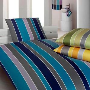 Elegante Bettwäsche Line, angenehmes Hautgefühl B/L: 135 cm x 200 (1 St.), 80 Mako-Jersey blau 135x200 nach Größe Bettwäsche, Bettlaken und Betttücher