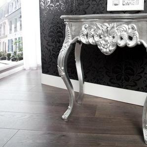 Elegante Konsole VENICE 85cm silber Barock Design Anrichte handgearbeitet