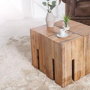 Eleganter Beistelltisch CASTLE 30cm Akazienholz gebürstet Sitzhocker
