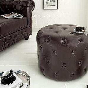 Eleganter Chesterfield Hocker 60cm dunkelbraun rund Couchtisch