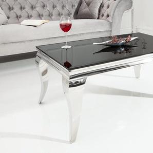 Couchtisch MODERN BAROCK silber 100 x 60 cm Tischbeine aus poliertem Edelstahl mit Opalglas
