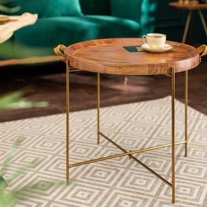 Eleganter Couchtisch MONSOON 55cm gold Akazienholz abnehmbares Tablett