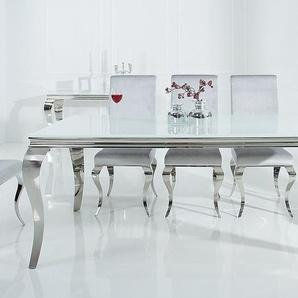 Eleganter Design Esstisch MODERN BAROCK 200cm weiß Edelstahl Opalglas Tischplatte