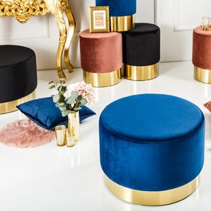 Eleganter Hocker MODERN BAROCK 55cm Samt blau gold Couchtisch