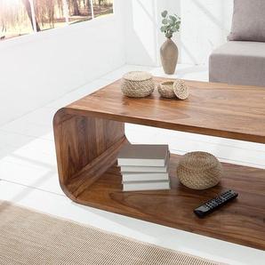 Eleganter Holz Couchtisch CUBUS 100cm Sheesham stone finish TV-Board