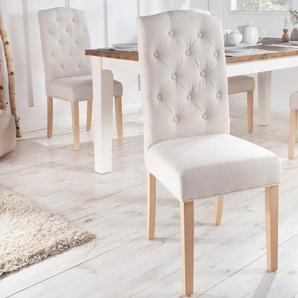 Eleganter Stuhl CASTLE beige mit Chesterfield Steppung im Landhausstil