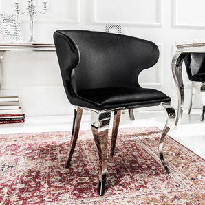 Eleganter Stuhl MODERN BAROCK II schwarz Samt Edelstahlbeine