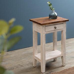 Eleganter Telefontisch LA FLEUR 33cm weiß Mahagoni Beistelltisch Landhausstil