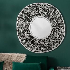 Eleganter Wandspiegel LEAF L 112cm silber Blattmuster variabel aufhängbar