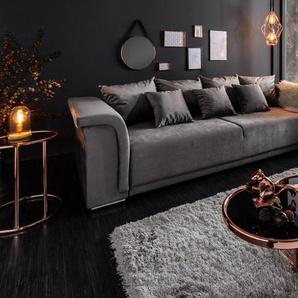 Elegantes XL Sofa BELLA 270cm hellgrau Samt Schlaffunktion inkl. Kissen