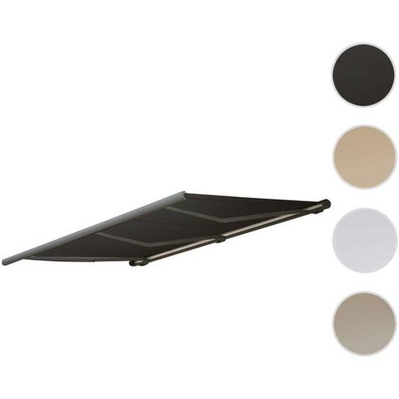 Elektronische Kassettenmarkise HWC-H27, Markise Vollkassette 6x3m ~ Polyester anthrazit, Rahmen grau