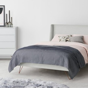Elona Super King Size Bed, Snow Grey weave, Copper Legs