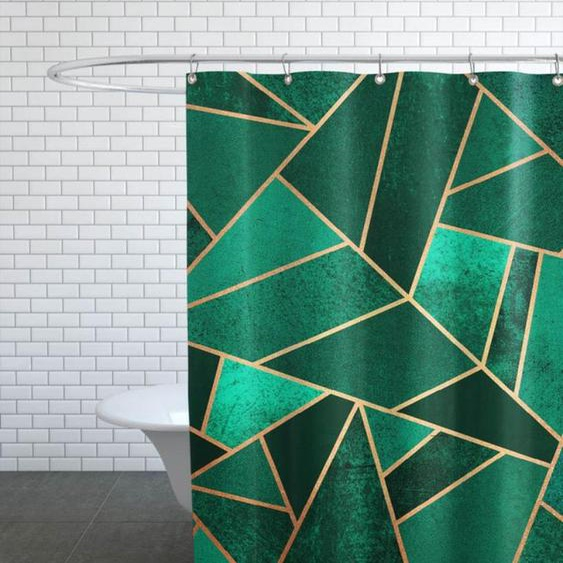 Emerald and Copper-Duschvorhang