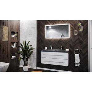 Badmöbel Granit India Black Damo 100 2 Hahnlöcher weiß hochglanz & LED Spiegel - EMOTION