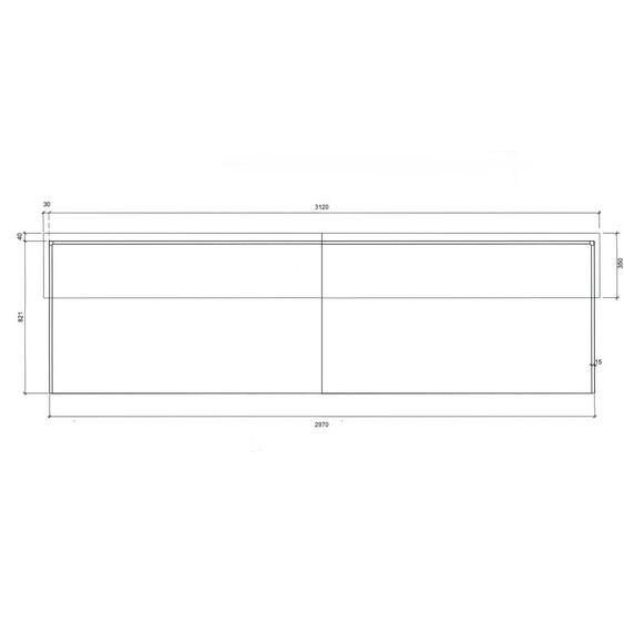 Empfangstresen Silber / Buche / 297x110x85 cm