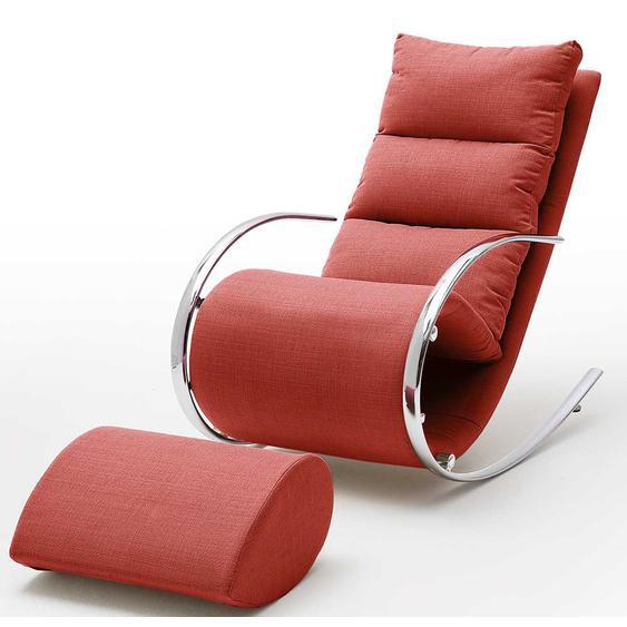 Entspannungssessel in Rot Webstoff Schaukelfunktion (2-teilig)