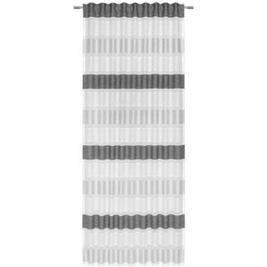 Esposa Fertigvorhang halbtransparent 140/245 cm , Schwarz , Textil , Streifen , 140x245 cm