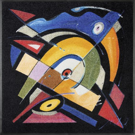 Esposa Fußmatte 85/85 cm Abstraktes Mehrfarbig , Mehrfarbig , Textil , 85 cm