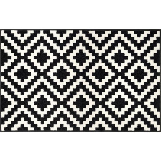 Esposa Webteppich 75/120 cm Weiß , Textil , Karo , 75 cm