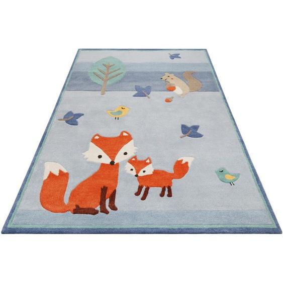 Esprit Kinderteppich E-Fox, rechteckig, 9 mm Höhe, besonders weich, Motiv Fuchs 4, 160x230 cm, blau Kinder Kinderteppiche mit Teppiche