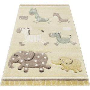 Esprit Kinderteppich Kids Lucky Zoo 2.0, rechteckig, 13 mm Höhe, Kinder Motiv Teppich B/L: 80 cm x 150 cm, 1 St. beige Kinderteppiche mit Teppiche