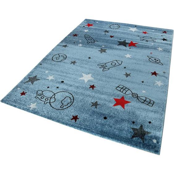 Esprit Kinderteppich Yoda, rechteckig, 13 mm Höhe, Weltall Design, Kurzflor 2, 80x150 cm, blau Kinder Kinderteppiche mit Motiv Teppiche