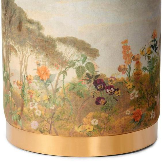 Essenza Sitzhocker »Pouf Felicia«, rund, aus weichem Samtvelours, mit goldfarbenem Sockel aus Metall