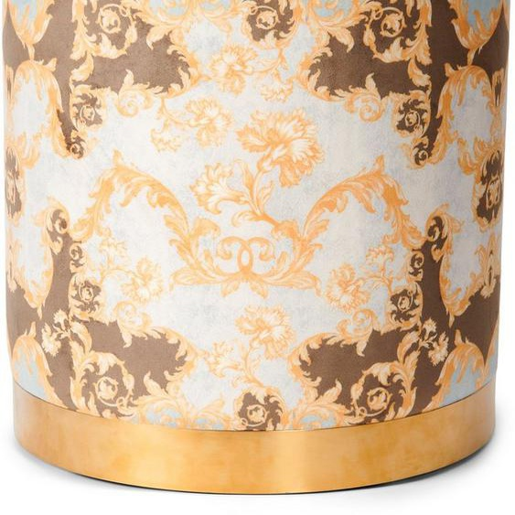 Essenza Sitzhocker »Pouf Grazie«, rund, aus weichem Samtvelours, mit goldfarbenem Sockel aus Metall
