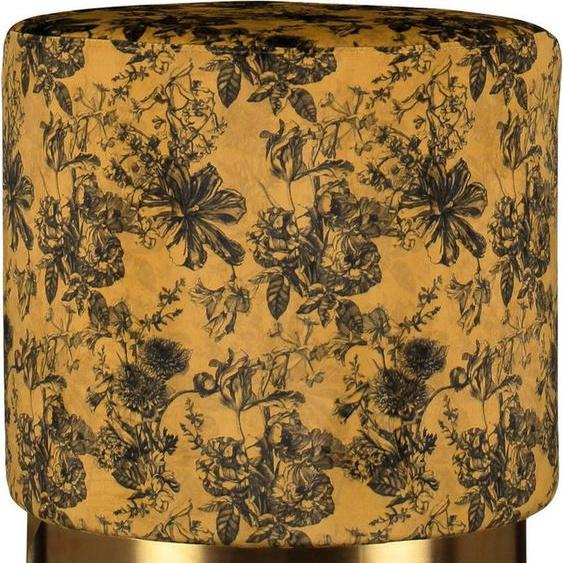 Essenza Sitzhocker »Pouf Vivienne«, rund, aus weichem Samtvelours, mit goldfarbenem Sockel aus Metall