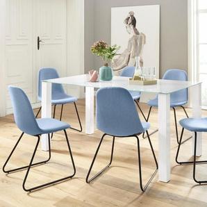 Essgruppe 5-teilig mit Glastisch 160 cm breit, blau, FSC®-zertifiziert,