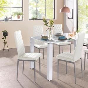 Essgruppe 5-teilig mit Glastisch weiß, pflegeleichtes Kunstleder, FSC®-zertifiziert, weiß