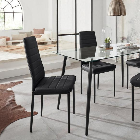 my home Essgruppe »Danny + Sandy«, (Set, 5-tlg), Glastisch, Breite 140 cm und 4 Esszimmerstühlen, Bezug aus Kunstleder