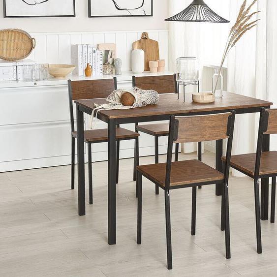 Essgruppe dunkler Holzfarbton / schwarz 4-Sitzer 110 x 70 cm HAMRY