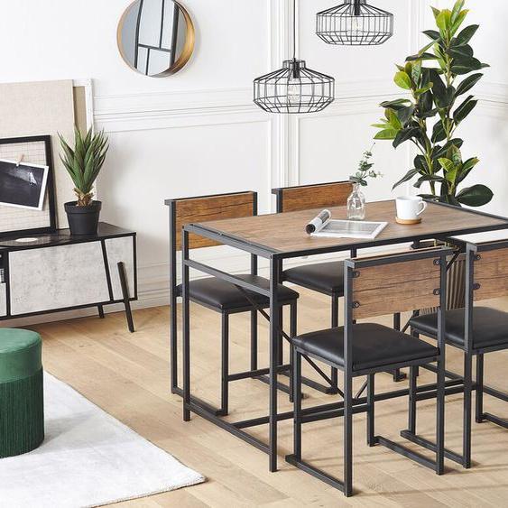 Essgruppe dunkler Holzfarbton / schwarz Stahl 4-Sitzer 110 x 70 cm BURTON