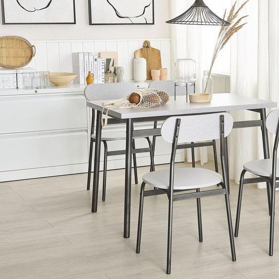 Essgruppe grau meliert / schwarz 4-Sitzer 110 x 70 cm VELDEN