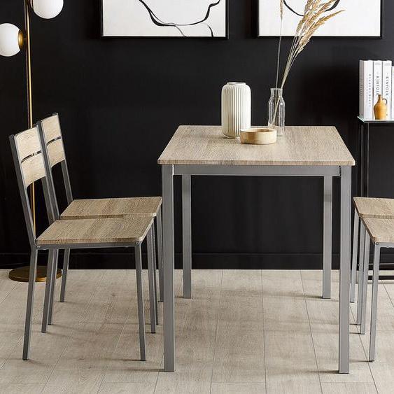 Essgruppe heller Holzfarbton / grau 4-Sitzer 110 x 70 cm BLUMBERG