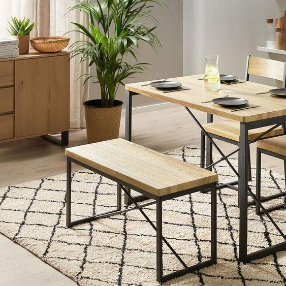 Essgruppe heller Holzfarbton / schwarz 4-Sitzer 110 x 70 cm 2 Stühle und Bank FLIXTON